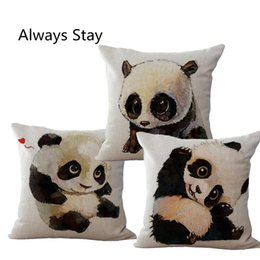 Wholesale New Arrival Cute Animal Print Cushion Panda Throw Pillows Case Polyester Cotton Linen Pillowcase Cojines Capa Para Almofada