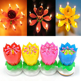 Wholesale 4 Pack Romantic Happy Birthday Music Play Lotus Candle Magic Musical Candle Flower Special For Birthday