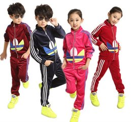 Wholesale 2016 Spring Boys Girls Velvet Clothes Sportswear Jacket Zipper Kids Tops Pants Kids Tracksuit For Babys Girls Clothing Sets Girls Sport Suit