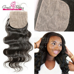 "Silk Closure Top Closure Brazilian human Hairpieces Silkbase Closures Free Part Body Wave 8""-18"" Hair Pieces Natural Color Dyeable greatremy"