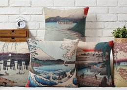 Wholesale Tokyo Fuji Mountain Volcano Japanese Yamato E History Culture Pillow Massager Art Painting Neck Euro Pillows Home Decor Gift