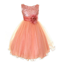 New Style Girls Dresses Baby Kids Sequinned Polyester Ankle-Length Party Dresses With Flower Kids Wedding Bridesmaid Dress