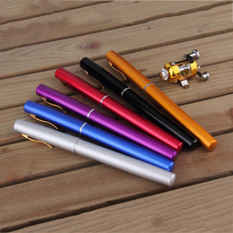 Wholesale Portable Pocket Telescopic Mini Fishing Pole Aluminum Alloy Pen Shape Fishing Rod With Reel Wheel Colors
