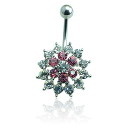Body Jewelry Fashion Belly Button Rings 316L Stainless Steel Barbell Rhinestone Pierced Flower Navel Piercing Jewelry