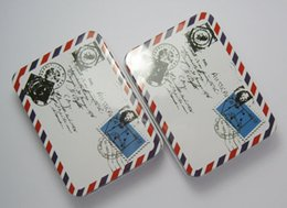 Wholesale Christmas Tin Box Sets Vintage Airmail Style Mini Rectangle Tin Box Metal Tin Boxes Storage Cases Jewelry Organizers Wedding Favor Holders