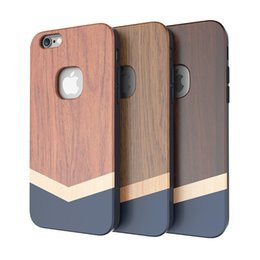 Wholesale Slicoo Hybrid Solid Wood TPU Shockproof Drop Protection Advanced Case High end Fashion Wooden Texture Full Cover for iPhone s s plus