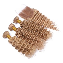 # 27 malasio de la Virgen del pelo rizado rizado Cierre de miel 3 paquetes con blondas de lotes rizado de la armadura con el encierro desde miel rubia pelo rizado virgen fabricantes