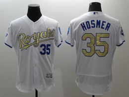 Wholesale Majestic - 2016 new hot selling jersey Kansas City Royals #35 Eric Hosmer Majestic White World Series Champions Gold Program jerseys