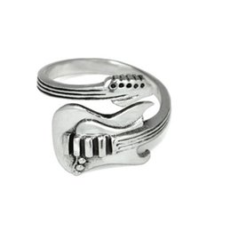 Rcok Guitar ancient silver plating ring fashion jewelry to open the adjustable size opening of a single aneis masculinos ring