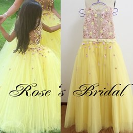 Real Picture Little Flower Girls Dresses 2017 Embroidery Lace Appliques Sheer Bodice Yellow Tulle Floor Length Little Girls Pageant Dresses