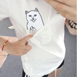 Wholesale Sea Mao Women T Shirt Summer Style T shirt Print Black Pocket Cat Harajuku Short Sleeve Couple Tee XL Plus Size