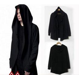 Wholesale Fashion Avant garde Big Hood Double Coat Mens Hoodies Sweatshirts Black Cloak Assassins Creed Outwear Oversize Chandal Hombre fs