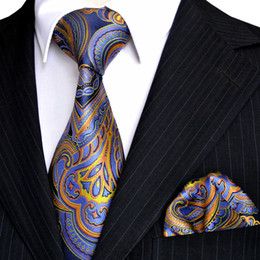 E1 Pattern Floral Navy Blue Azure Yellow Orange Mens Tie Set Neckties Hanky 100% Silk Jacquard Woven