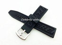 Regarder bracelet en caoutchouc noir en Ligne-24mm Nouveaux Hommes De Haute Qualité Black Diver Silicone Rubber Bandes Bandes Utilisation Pour Breitling Watch