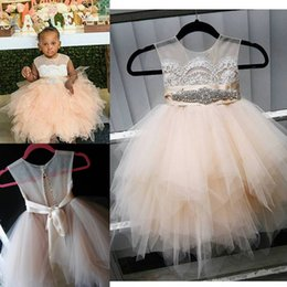 Lovely Baby Girls Birthday Party Dresses 2016 Sheer Neck Lace Applique Beaded Tiered Tulle Flower Girl Dresses Back Covered Buttons Dress