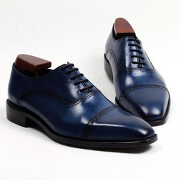 Men Dress shoes Oxford shoes Square toe Men's shoes Custom Handmade shoes Genuine calf leather color Navy HD-N153
