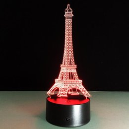 Wholesale Eiffel Tower Gift Ideas Colorful Led Night Light Sensor Lights Inserted D Electro optical Control Lamp