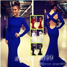 Wholesale 2016 Cheap In Stock royal blue Sexy Long Sleeve Backless Evening Dresses Stretchy Spandex Lurelly Monaco Sheath Prom Party Celebrity Gowns