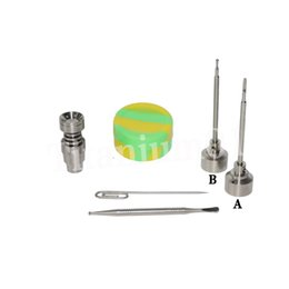 4 in 1 6holes Titanium nail fit 22mm bowl Titanium carb cap with side hole with 1 random Silicone Jar Container with 2 Real Ti dabbers