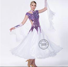 shiny purple sequin customize Fox trot ballroom Waltz tango salsa Quick step competition dress