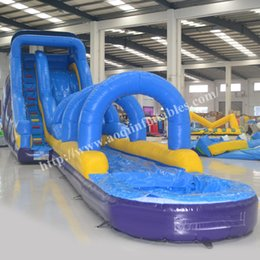 Wholesale AOQI wonderful product long inflatable slide for sale large water slide inflatable with pool with EN14960 certification