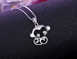 Wholesale Fashion New sterling silver jewelry Zodiac monkey pendant necklace manufacturer Charms necklaces for women party dress up