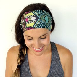 Wholesale Bohemia Headbands Colors Women Sports Yoga Headbands Lady Washing Face Stretch Wide Head Wrap Floral Hair Accessories