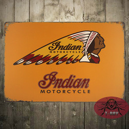Wholesale Metal Poster quot Indian Motorcycle quot Vintage Tin Sign for the Garage or Man Cave