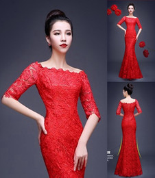 Wholesale Cheongsam Back - Mermaid Long Evening Dresses Off the Shoulder Lace Embroidery Chinese Cheongsam Qipao Dresses Formal Prom Dresses Cheongsam (DHD-001)