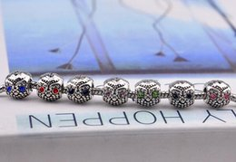 Silver Owl Bead Charm with Green Crystal Beads for Women Diy Pandora Bracelet & Bangles Wholesale free shipping
