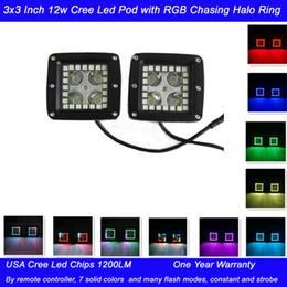 Tonelada de color en venta-2pcs 3X3 la pulgada 12W llevó las luces del trabajo con el RGB que perseguía el anillo del halo El regulador alejado que destellaba 7 colores Toneladas de modos que destellaban El arnés eléctrico libre