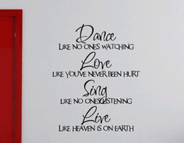 Dance love you english wall sticker for kids bedroom living room on the wall decoration removable Free shipping