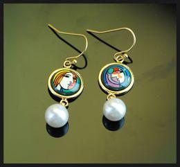 Femmes top perle à vendre-Boucles d'oreilles femme avant un miroir boucles d'oreilles boucles d'oreilles boucles d'oreilles plaqué or 18K pour femme Boucles d'oreilles boucles d'oreilles perle de qualité supérieure pour un cadeau