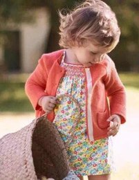 Wholesale 2016 Babies Knit Pocket Sweaters Baby Girl Crochet Knitted Cardigan kids Girls Autumn Fashion Outwear children s clothing