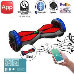 Wholesale UL2272 Inch APP Bluetooth Speaker Electric Scooter Cool LED Light Wheels Smart Balance Self Balancing Skateboard Standing Hoverboard