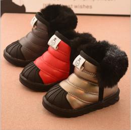 Vente chaude 2017 nouvelle mode en caoutchouc semelle fourrure épaissir  chaud hiver courts enfants enfants bottes de neige chaussures pour garçons  filles ... 18167ab61790