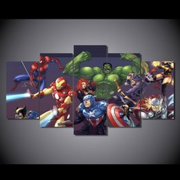 Wholesale 5 Set No Framed HD Printed spider man captain america Painting Canvas Print room decor print poster picture canvas kandinsky paintings