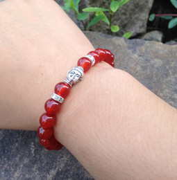 SN0395 Top DIY Bracelet fashion agate buddha bracelet red agate bead stretch bracelet for women Gift