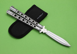 Wholesale 2015 New Design Balisong knife BM46 knife Single Edge full blade Spear point latch can be adjusted New with nylon bag
