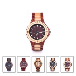 Wholesale Wood Watch Brand Men Wooden Watch New Year Gift Bangle Quartz Watch with Calendar Display role men relogio masculino watches