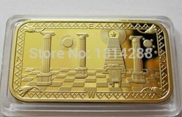 Wholesale 24 KT CLAD COLLECTIBLE GOLD BULLION BAR quot MASONIC SYMBOLS quot gold plated bullion bar replica bar
