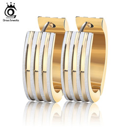 Concise 3 Layers Gold Plated Hoop Earrings for Woman Trendy Design Stainless Steel Fashion Accessories GTE12