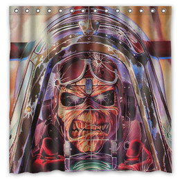 Wholesale Iron Maiden Undead Airplane Sky Clouds Design Shower Curtain Size x cm Custom Waterproof Polyester Fabric Bath Shower Curtains