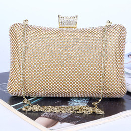 black gold silver 3 colors purse ladies party clutch bag Handmade rhinestone Crystal beaded bling evening bag with chain