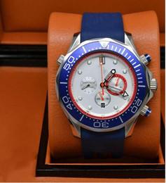 brand dive quartz chronograph high fly emirates Watch Professional Planet Ocean Wristwatch blue rubber belt original clasp Men Watches 01251