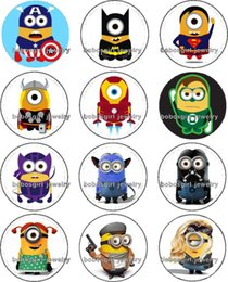 Wholesale Despicable Me SUPERHERO glass Snap button Charm Popper for Snap Jewelry good quality Gl290 jewelry making supplier