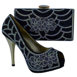 Wholesale Hot sale high heel CM african shoes matching hand bag set with nice rhinestone ladies pumps for party dress L68 black