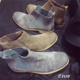 Wholesale Retro but tide ride chelsea boots Cow suede leather mens shoes kanye west boots all match