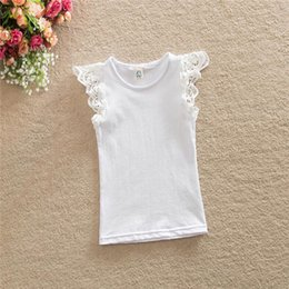 White Lace Top Baby Girls Tees Baptism Baby Ruffle Sleeve Singlet Summer Girls Toddler Outfit Candy Color Top for kids
