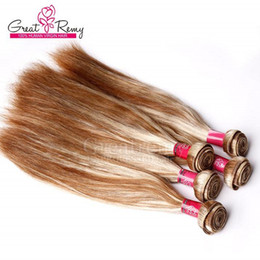 Greatremy #613-8 Two tone blonde hair straight brazilian weft hair 100% unprocessed 3pcs piano color human hair extensions